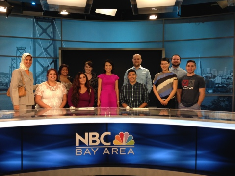 At NBC Bay Area with Spring 2015 Newswriting students and investigative journalist Vicky Nguyen (center), June 10, 2015.